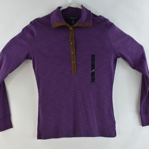 Chaps Denim Womens Small Polo Purple Stretch L/S
